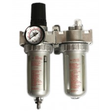 Фильтр-лубрикатор с регулятором давления и манометром.